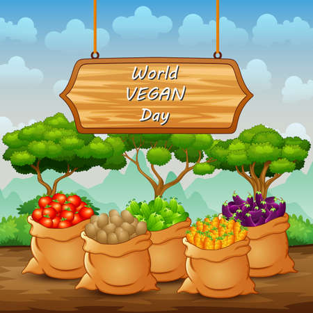 Happy World Vegan Day with different kinds of vegetables in the sack