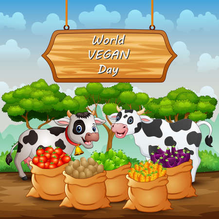 Happy World Vegan Day sign background with cow and vegetables in sack