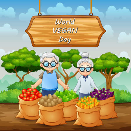World Vegan Day on sign with vegetables and grandparents pair