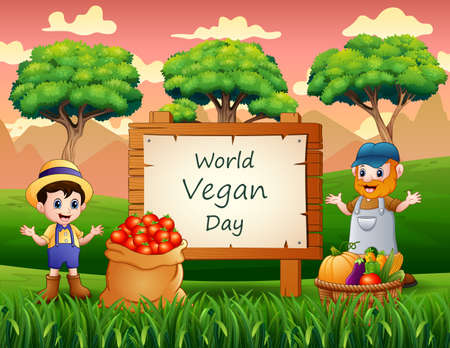 World Vegan Day on sign with vegetables and farmers