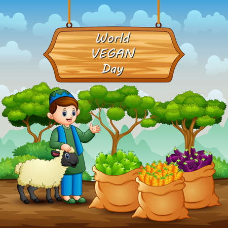 Happy World Vegan Day with vegetables and farmer Vettoriali