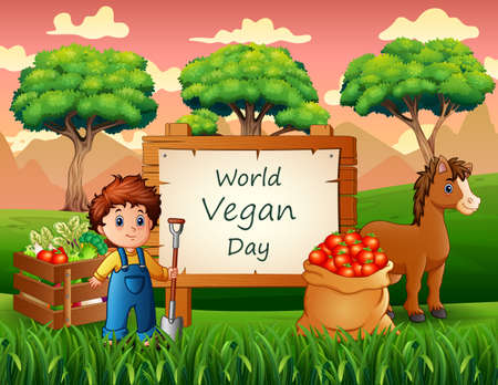 Happy World Vegan Day with farm products and farmer Vettoriali