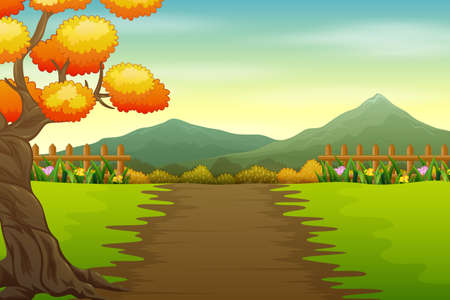 Illustration of park road in autumn landscape Иллюстрация
