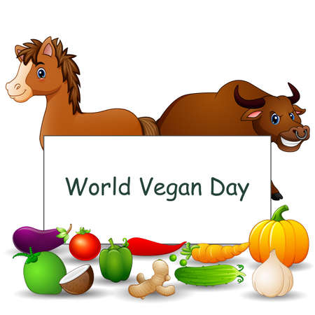 World Vegan Day text design on sign with vegetables and animals