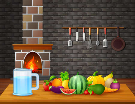 Illustration of Fresh fruits on table in the room Ilustracja