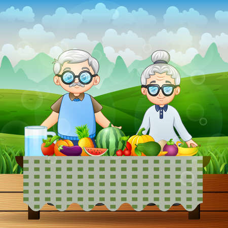 Happy grandparents and different fresh fruits at nature background Ilustracja