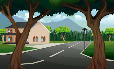 Street scene with building and nature background