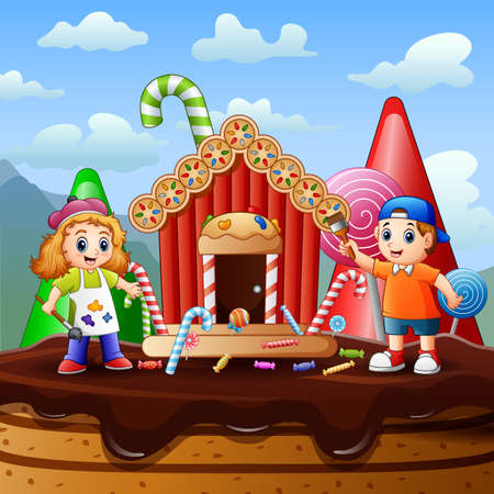 Happy kids painting a candy house illustration