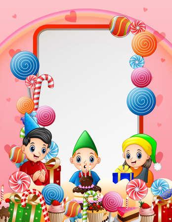 A little boy birthday party background illustration