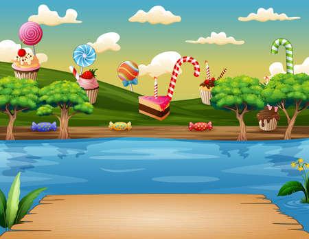 Illustration of sweet land on the riverside
