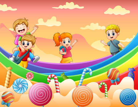 Happy kids playing on a candy land illustration