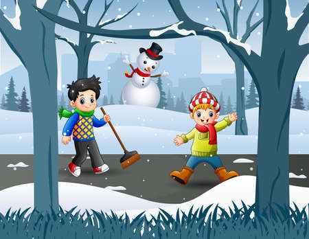 Two boy cleaning snow on the road Illustration