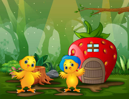 Fantasy strawberry house with happy two chicks