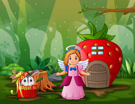 Cartoon girl angel and gift rabbit in the fantasy house illustration  イラスト・ベクター素材