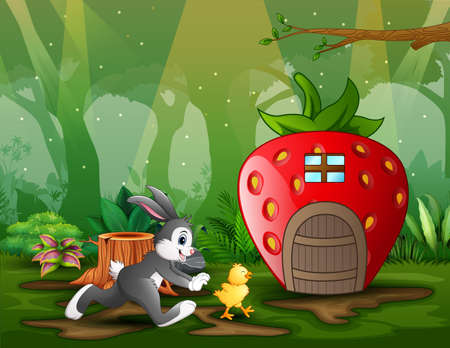 Cartoon rabbit chasing a chick in front the strawberry house  イラスト・ベクター素材