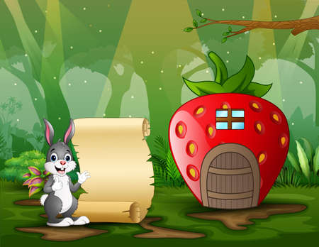 Cute a rabbit with paper sign near the fantasy house illustration