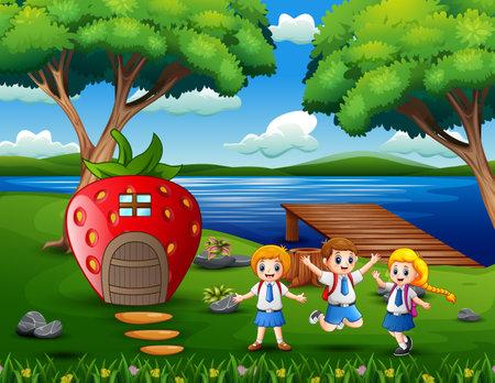 Cheerful school children near the strawberry house