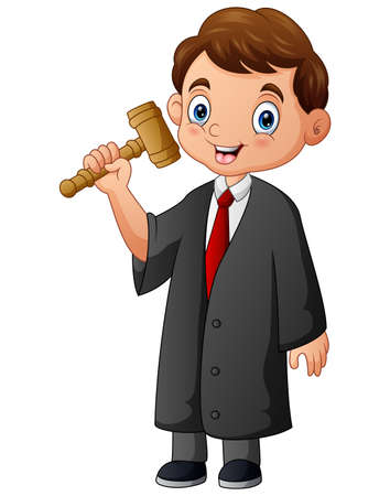 Cartoon the judge holding a hammer in hand Illusztráció