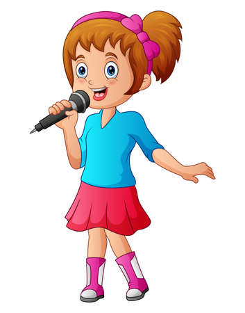 Girl sings a song in a microphone on a white background
