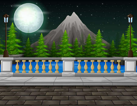 Background of roadside with mountain at night landscape