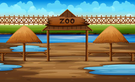 Background scene of zoo park with pond illustration