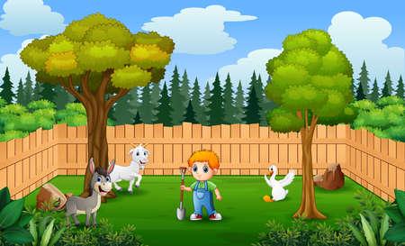 Happy farmer with animals in the farm
