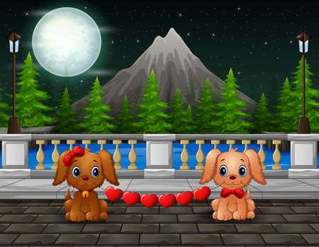 Night scene with a couple dogs bite red heart Vektorgrafik