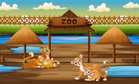 Happy wild animal with their cubs enjoying in the zoo illustration