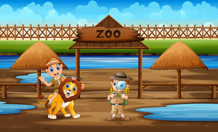 Cartoon the zookeeper boys with a lion in the zoo