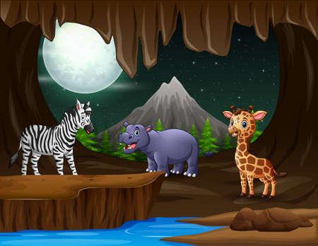 Many animal in the cave at night Vektorové ilustrace