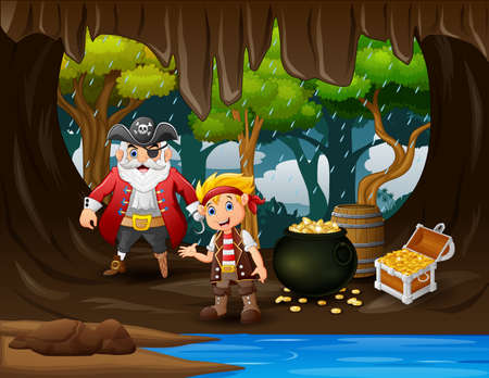 Treasure cartoon with pirate in cave gold