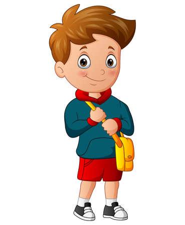 Cartoon of school boy holding a bag