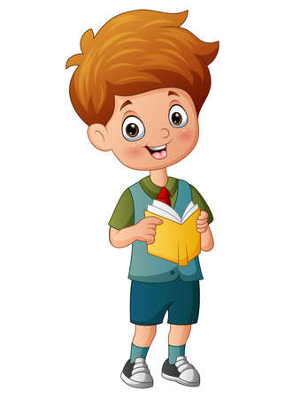 Cartoon of school boy holding a book
