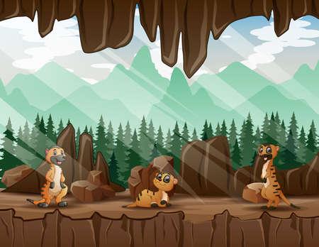 Cartoon three of meerkats in the cave entrance