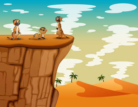 Desert landscape with three of meerkats on top of the cliff