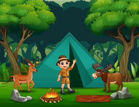 Camping background with a safari boy and deers Ilustração Vetorial
