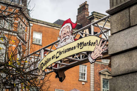 Welcome sign to Dublin Christmas Market 2014. Banque d'images