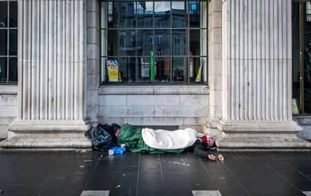 Two Homeless Men Sleep Rough in Dublin.
