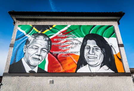 irish history: Nelson Mandela and Bobby Sands Mural in Derry.