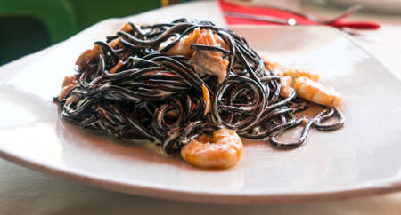 Black Spaghetti with Prawns.
