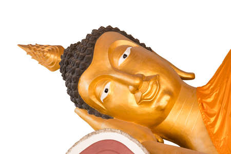 Buddha statue in gold stucco on white background