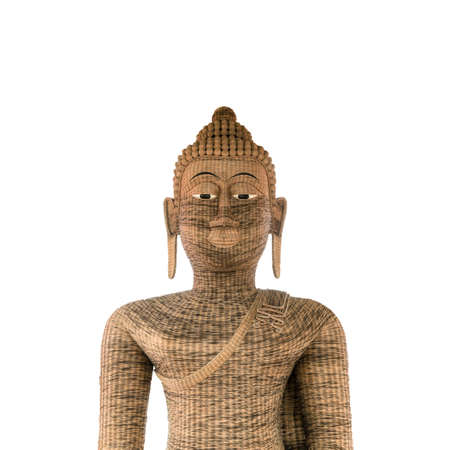 Buddha made of bamboo weave by handmade which is a beautiful sculpture at temple in thailand.
