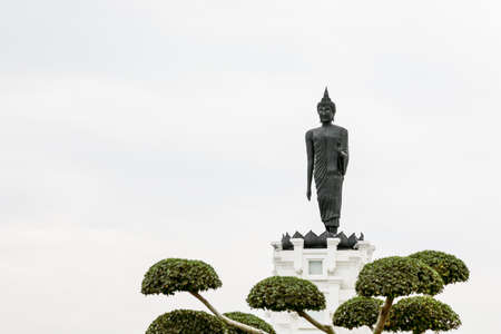Sculpture about Buddha image is Buddha posture bless and feel happy. Stock Photo