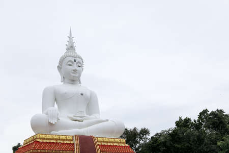 Sculpture about Buddha image is Buddha posture sit on base and feel happy.