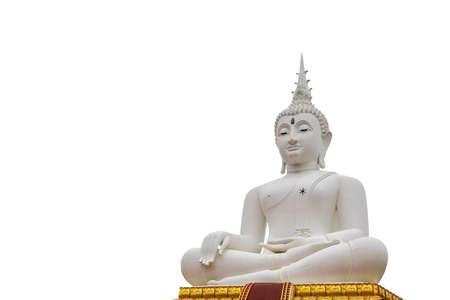 Sculpture about Buddha image is Buddha posture sit on lotus base and feel happy.