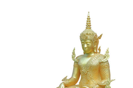 Sculpture about Buddha image is Buddha posture have  merciful and feel happy. Stock Photo