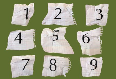 then: Numbers printed on graph paper, photographed and put into sequence then turned into interesting pattern Stock Photo