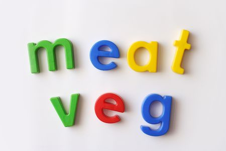 veg: meat and veg words spelled out with fridge magnets