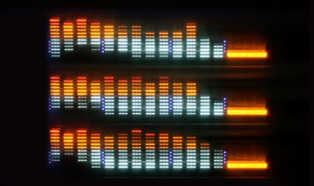 decibels: pattern made from hifi graphic equalisers Stock Photo