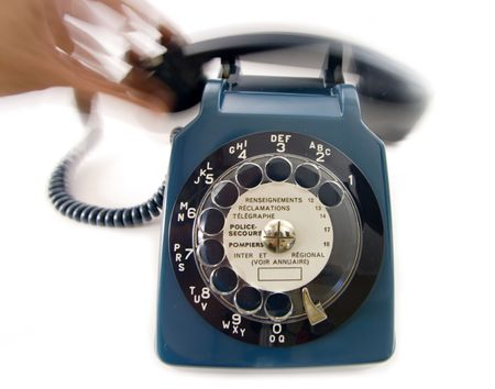 bakelite: old retro blue bakelite phone in receiver off the hook